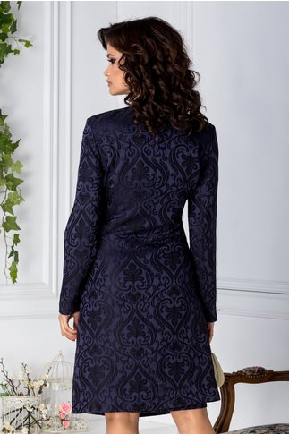 Trench Leonard Collection elegant bleumarin cu motive florale negre