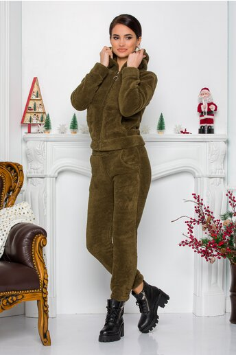 Trening Cocolino kaki cu gluga si pantaloni cu talie elastica