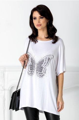 Tricou alb cu aplicatie la bust in forma de fluture