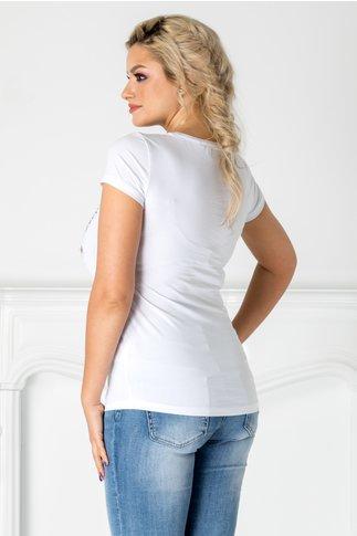 Tricou alb cu flamingo si floare 3D aplicata