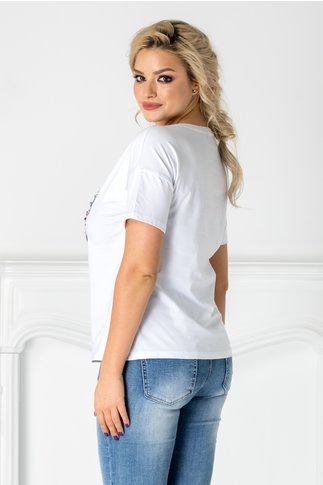 Tricou alb cu fundite din paiete reversibile
