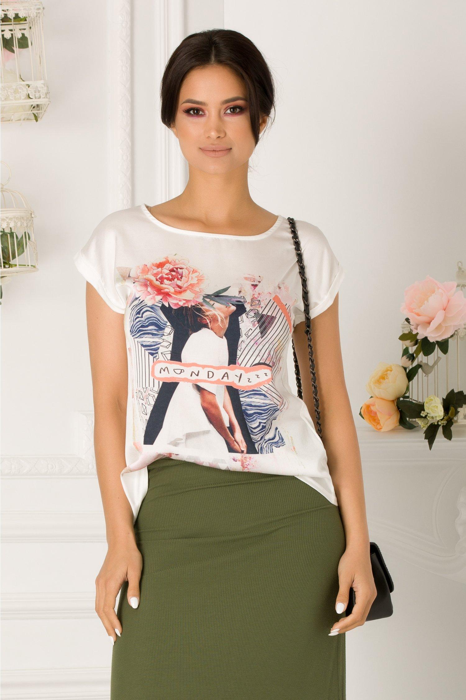 Tricou alb cu imprimeu pe fata si text