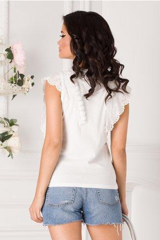 Tricou alb cu imprimeu si dantela la maneci
