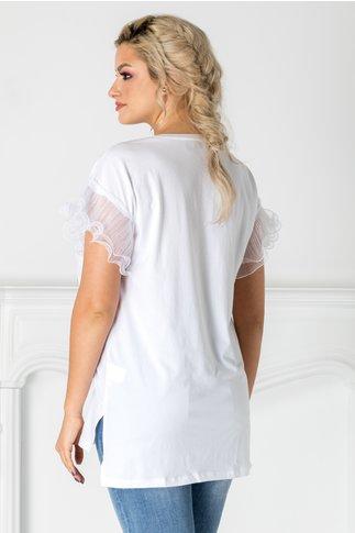 Tricou alb cu maneci din tull plisat