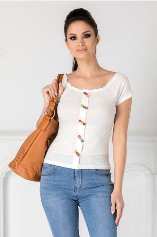 Tricou alb cu nasturi colorati