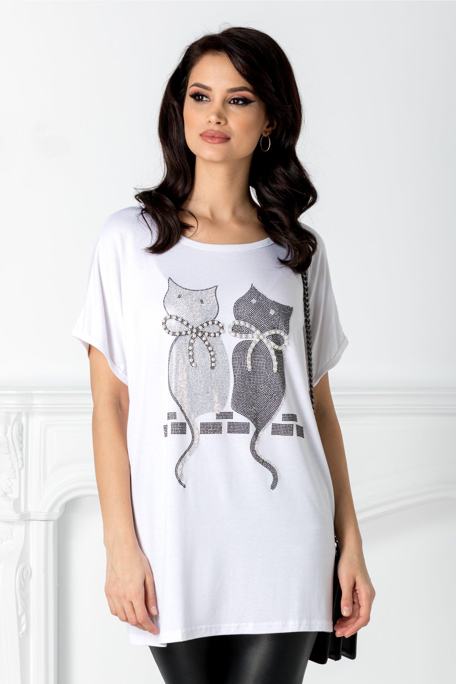 Tricou alb cu pisicute la bust