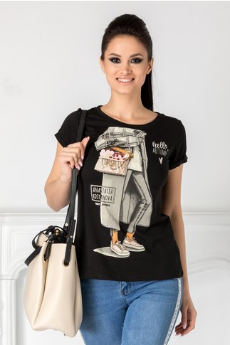 Tricou Anastasia negru cu imprimeu si aplicatii