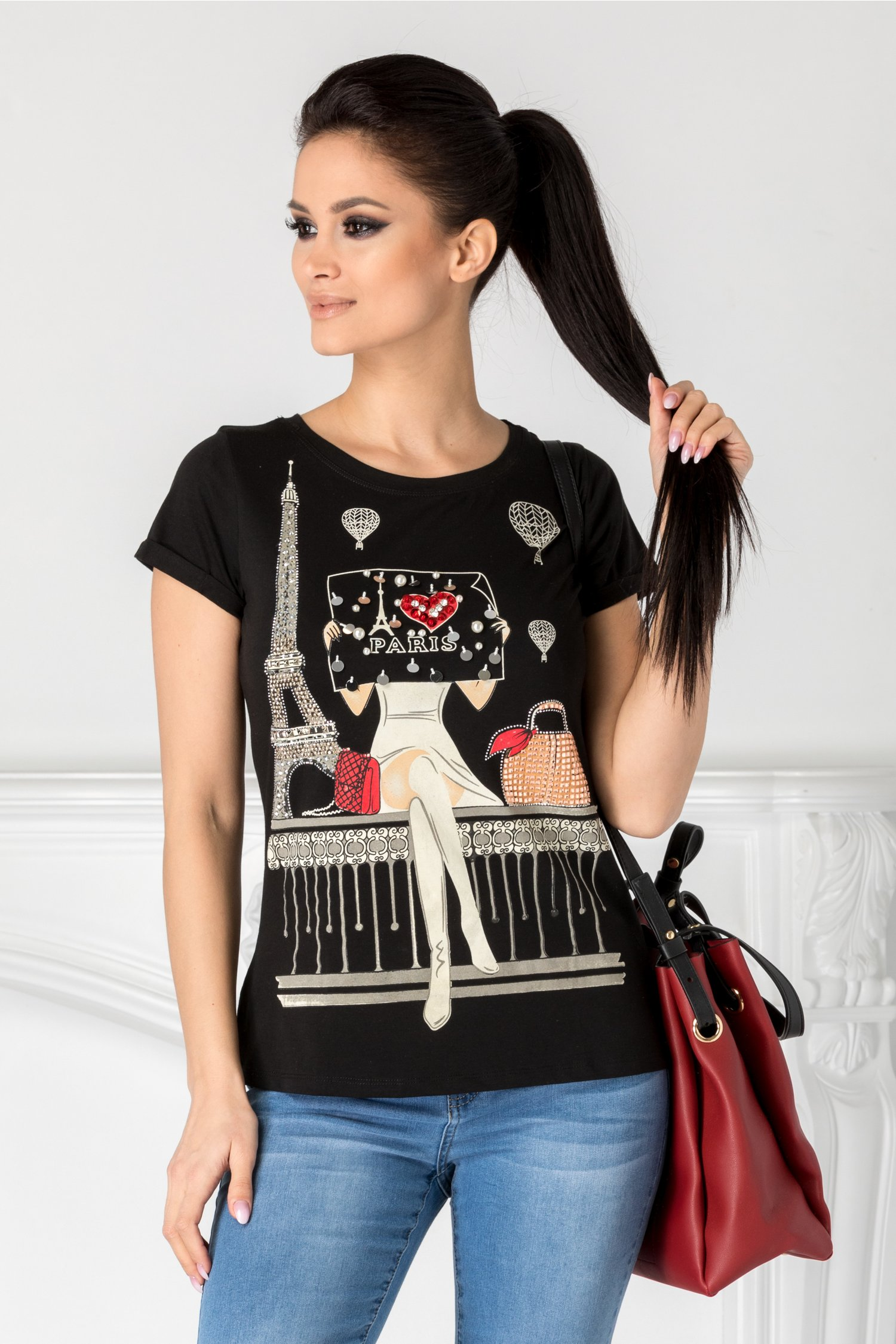 Tricou Anelie negru cu imprimeu pe fata si strasuri