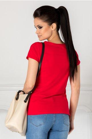 Tricou Anelie rosu cu imprimeu pe fata si strasuri