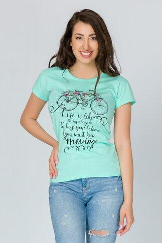 Tricou Bicyle verde mint cu imprimeu si mesaj