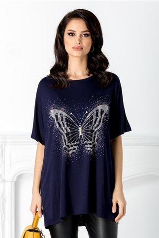 Tricou bleumarin cu aplicatie la bust in forma de fluture