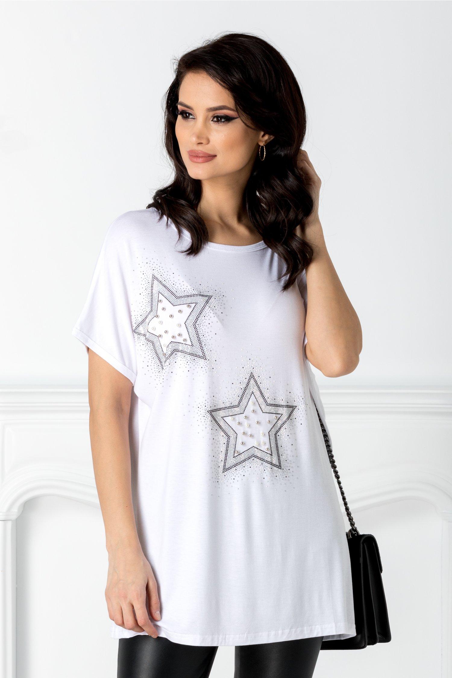 Tricou casual alb cu stelute din strasuri