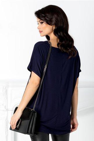 Tricou casual bleumarin cu stelute din strasuri