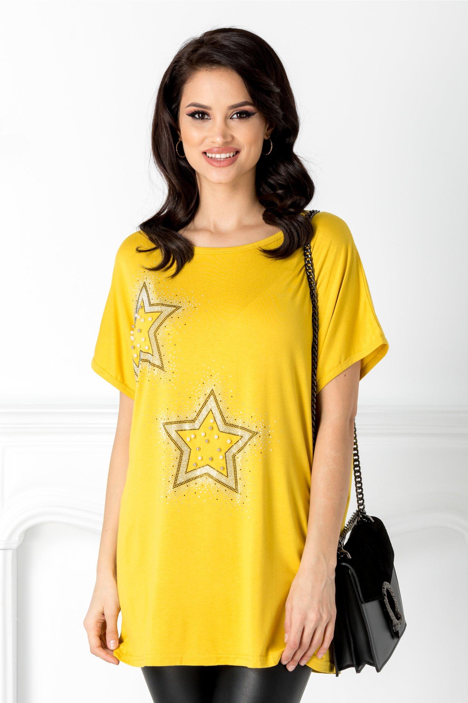 Tricou casual galben cu stelute din strasuri
