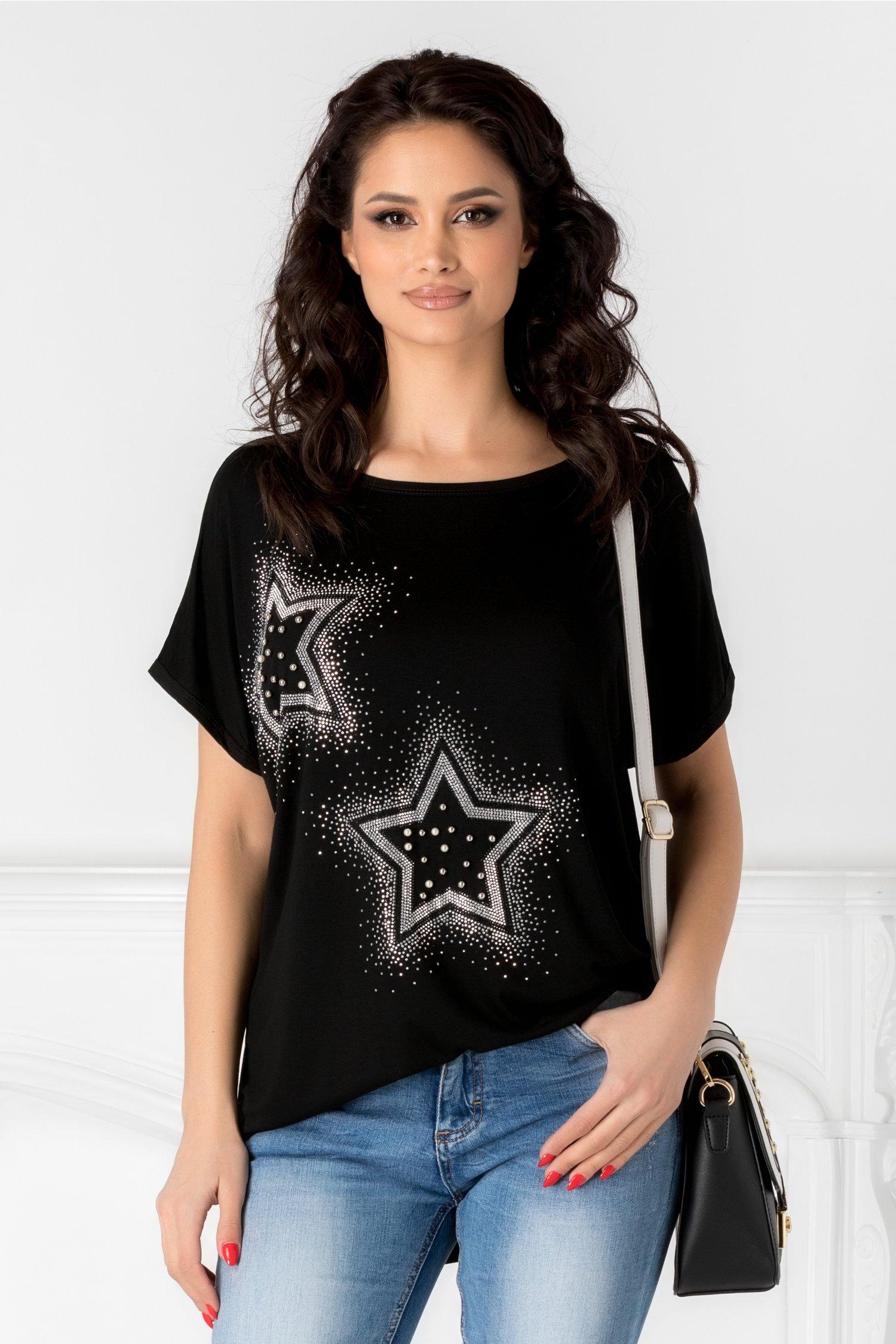 Tricou casual negru cu stelute din strasuri