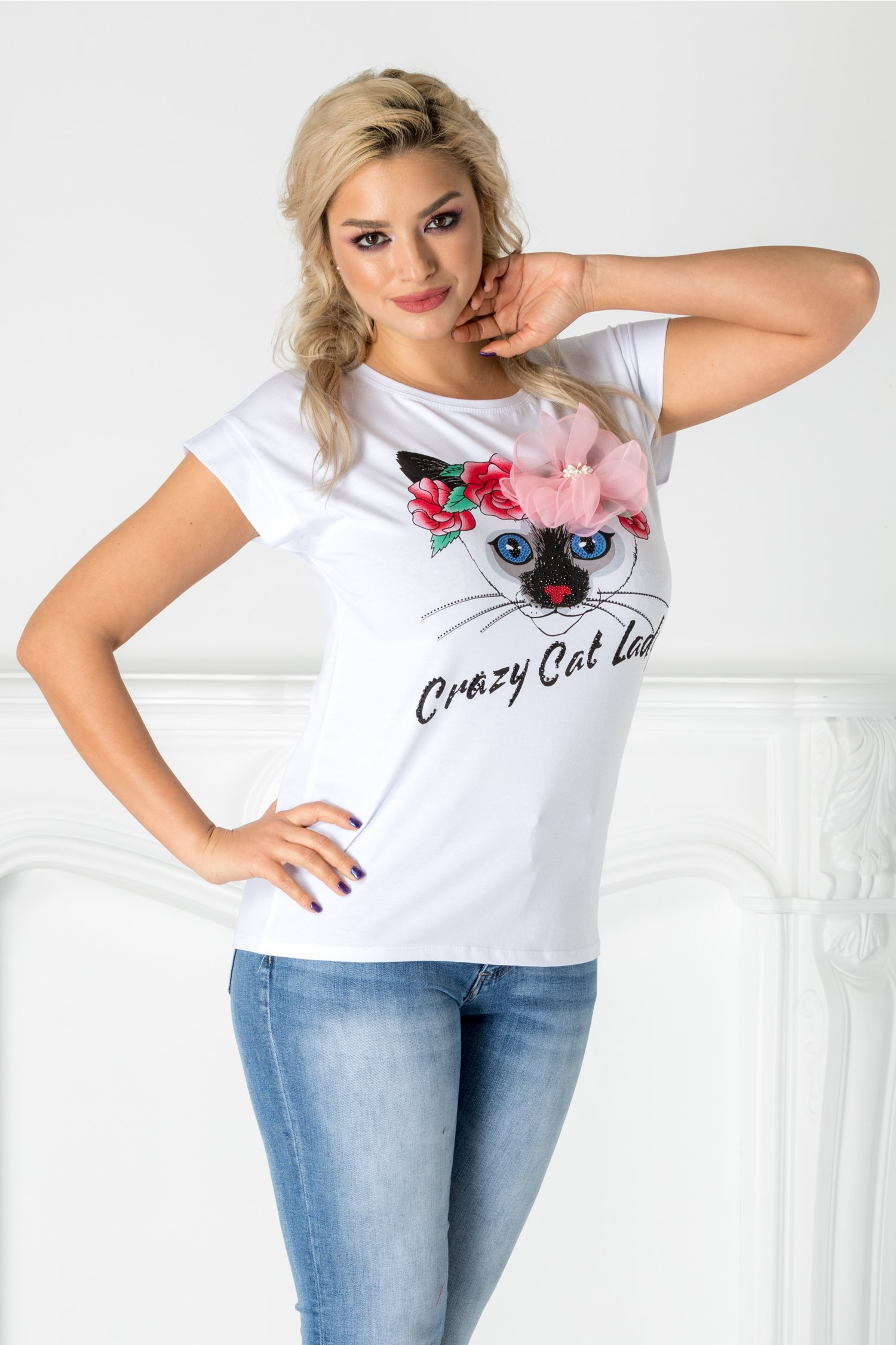 Tricou Cat Lady alb