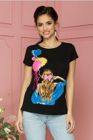Tricou Daria neagra cu imprimeu colorat si insertii din paiete