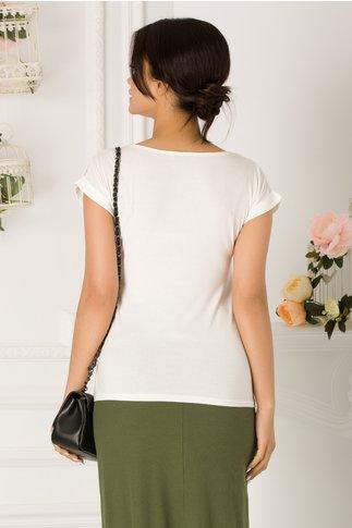Tricou de dama alb casual cu imagine imprimata pe fata