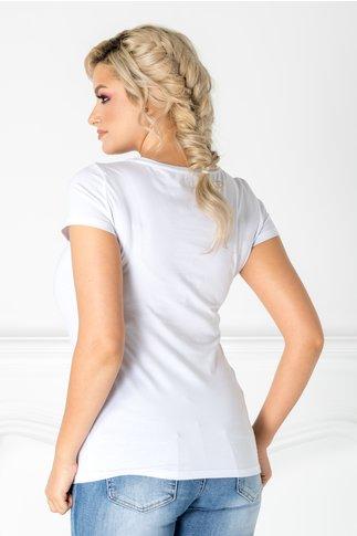 Tricou Enda alb cu imprimeu la bust si paiete colorate
