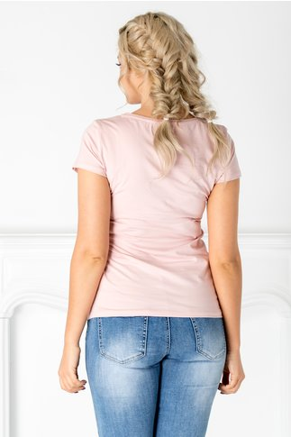 Tricou Enda roz cu imprimeu la bust si paiete colorate