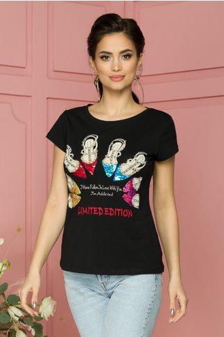 Tricou Fallen negru cu imprimeuri si paiete colorate