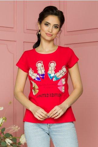 Tricou Fallen rosu cu imprimeuri si paiete colorate