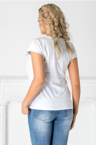 Tricou Ferry alb cu imprimeu la bust si perlute