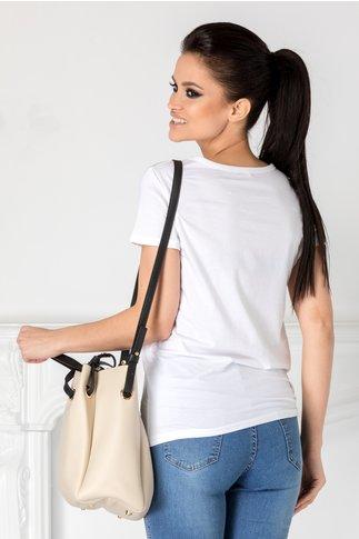 Tricou Girly alb cu imprimeu si aplicatii 3D