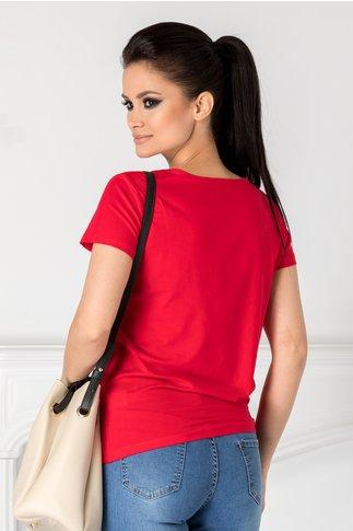 Tricou Girly rosu cu imprimeu si aplicatii 3D