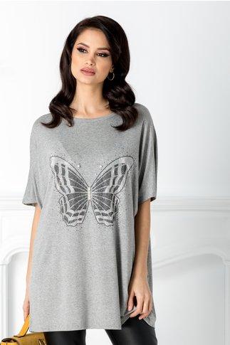 Tricou gri cu aplicatie la bust in forma de fluture