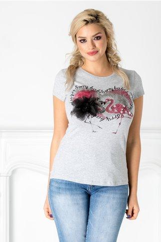 Tricou gri cu flamingo si floare 3D aplicata