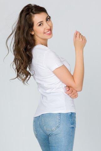 Tricou Heart alb cu paiete reversibile multicolore