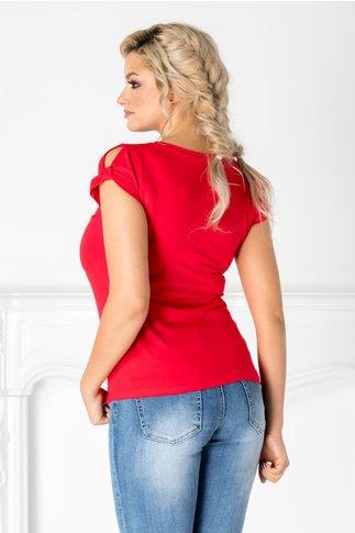 Tricou Hope rosu cu imprimeu si insertii la bust