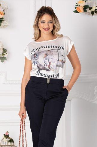 Tricou Kari alb cu imagine imprimata pe fata