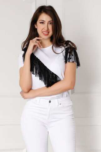 Tricou LaDonna alb cu insertie din tull negru cu buline