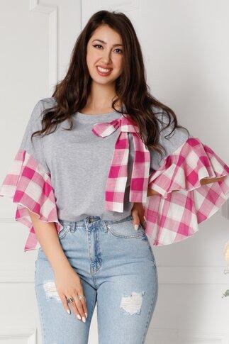 Tricou LaDonna gri cu carouri in nuante de roz