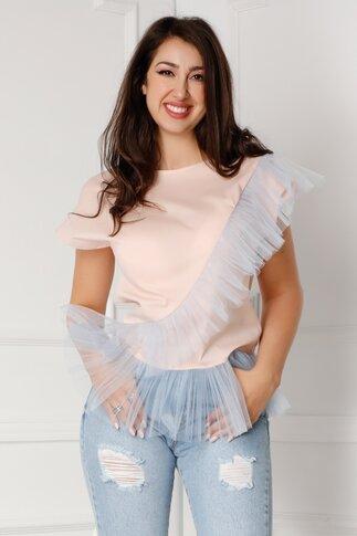 Tricou LaDonna roz somon cu aplicatii din tull