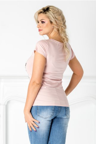 Tricou Lady roz cu imprimeu la bust