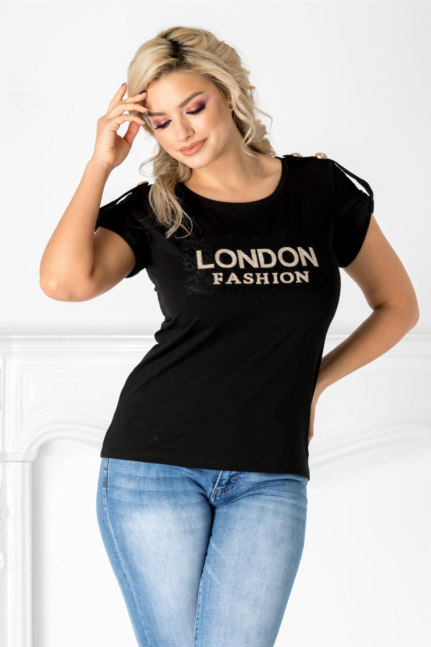 Tricou London negru cu aplicatie aurie si dantela la bust