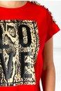 Tricou Love rosu cu aplicatie pe bust si la umeri