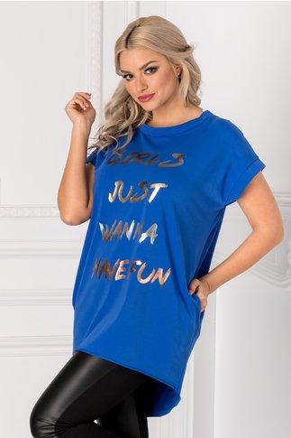 Tricou lung albastru lejer cu mesaj pe fata