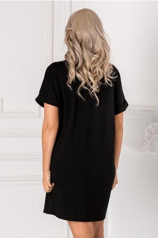 Tricou lung negru over size cu imprimeu pe fata