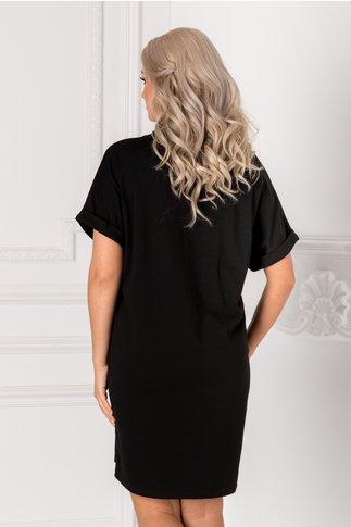 Tricou lung negru over size cu mesaje pe fata