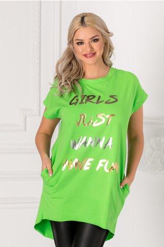 Tricou lung verde lejer cu mesaj pe fata