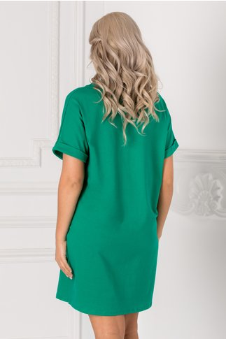Tricou lung verde over size cu mesaje pe fata