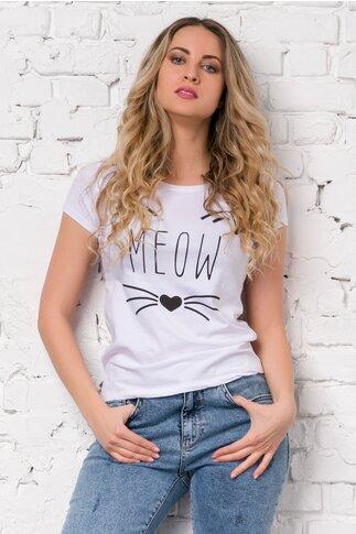 Tricou Meow alb cu imprimeu
