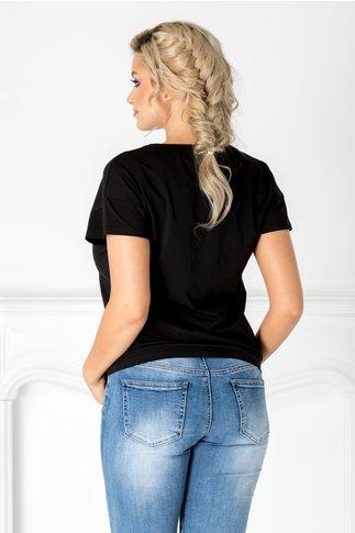 Tricou Miriam negru cu insertii la bust