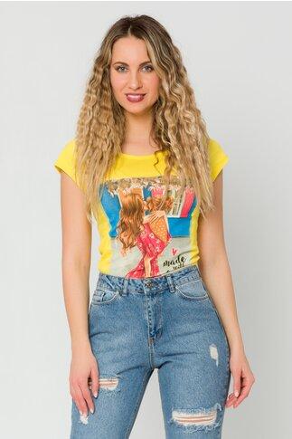 Tricou Mommy galben cu imprimeu