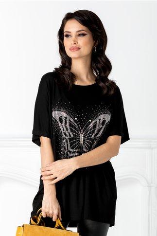 Tricou negru cu aplicatie la bust in forma de fluture