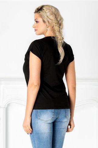 Tricou negru cu buze din paiete